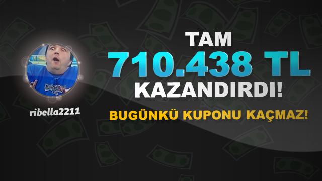 Tam 710.438 TL kazandırdı! Bugünkü kuponu kaçmaz